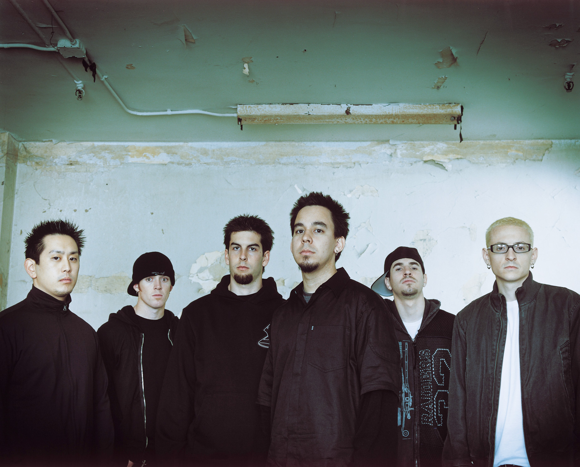 Members of the rock band Linkin Park are seen in this file photo.
