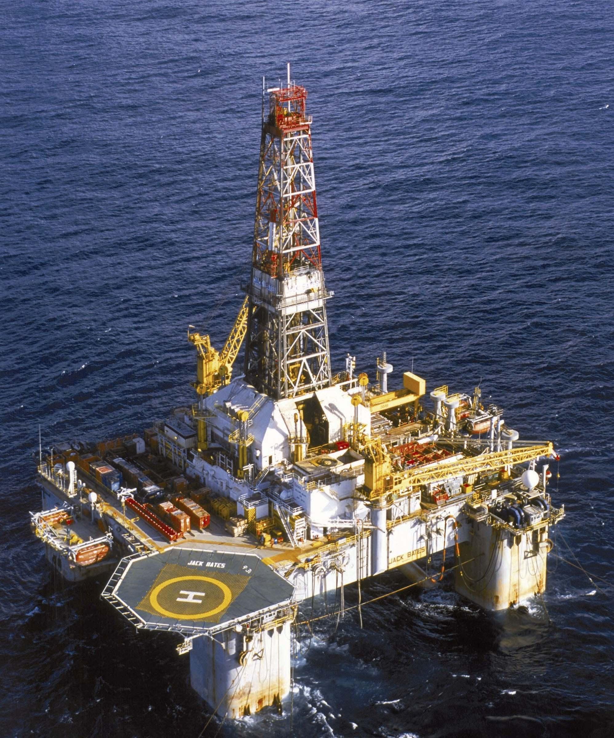 Woodside Petroleum Ltd's Jack Bates drilling platform is seen off the coast of Western Australia in this undated handout photograph.