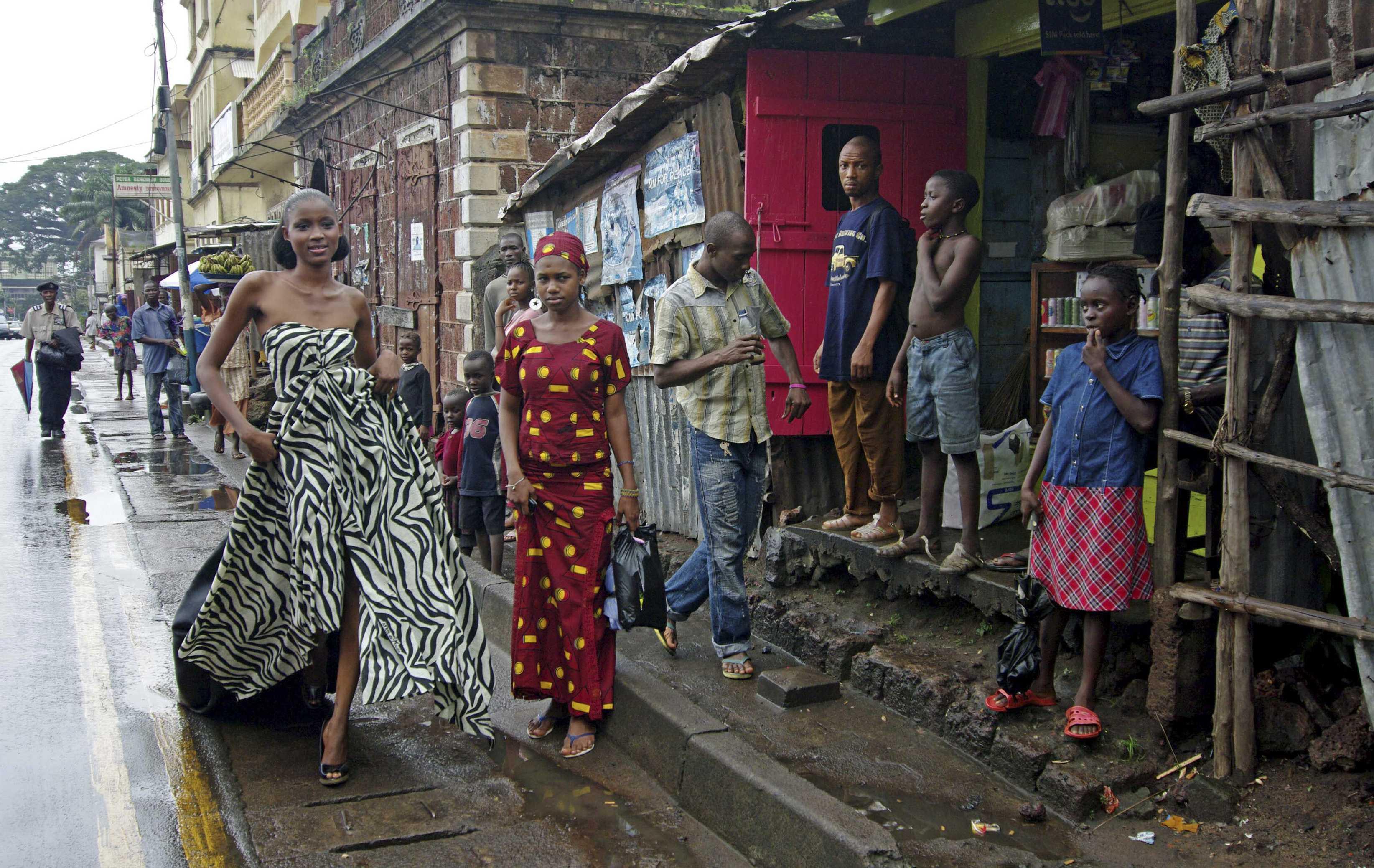 Ramatu Wurie, a Sierra Leonean beauty queen, models her first photo shoot in downtown Freetown, Sierra Leone on August 9.
