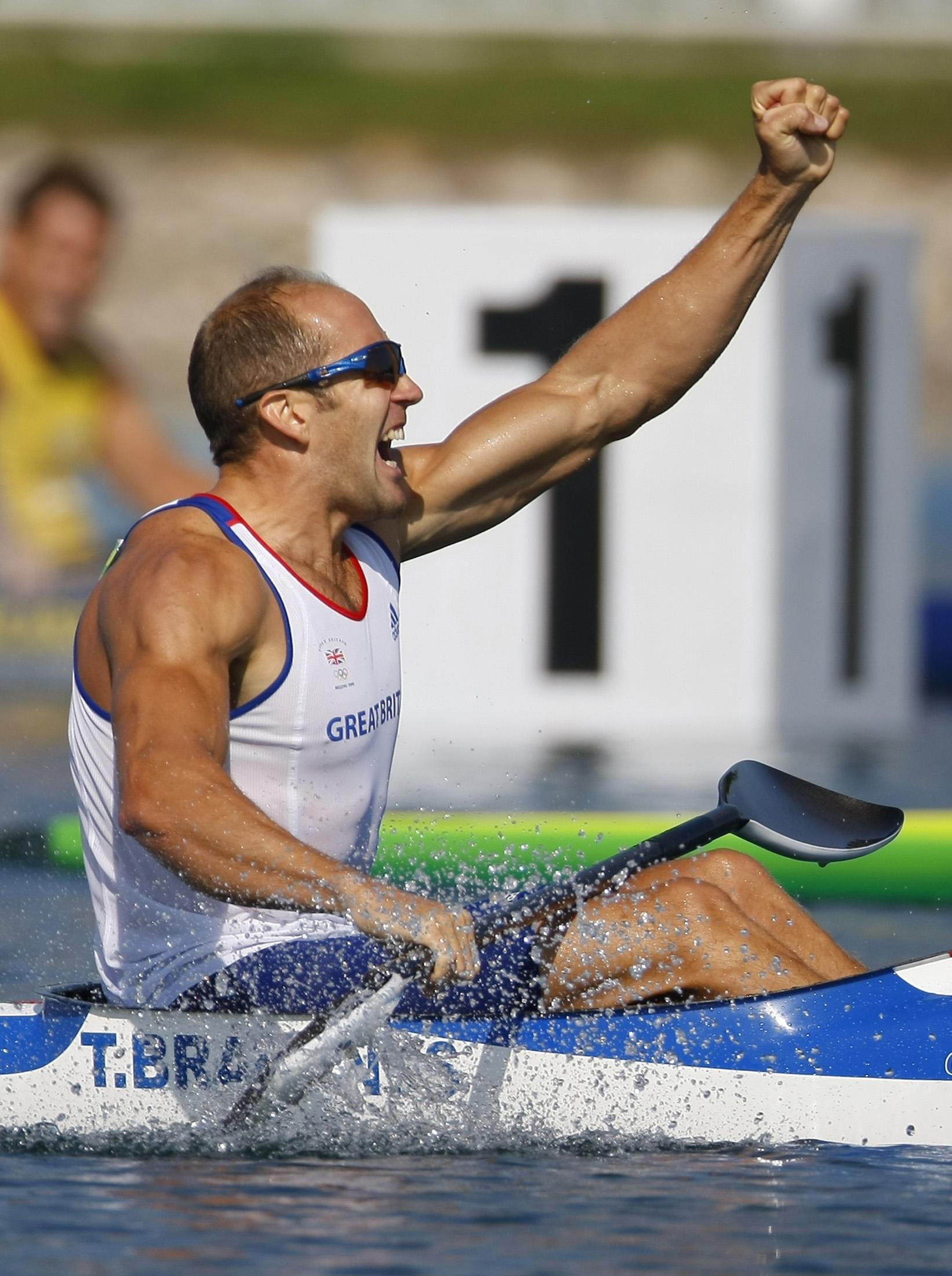 Tim Brabants of Britain celebrates winning his men's kayak single K1 1000m final of the Beijing 2008 Olympic Games at Shunyi Olympic Rowing-Canoeing P...