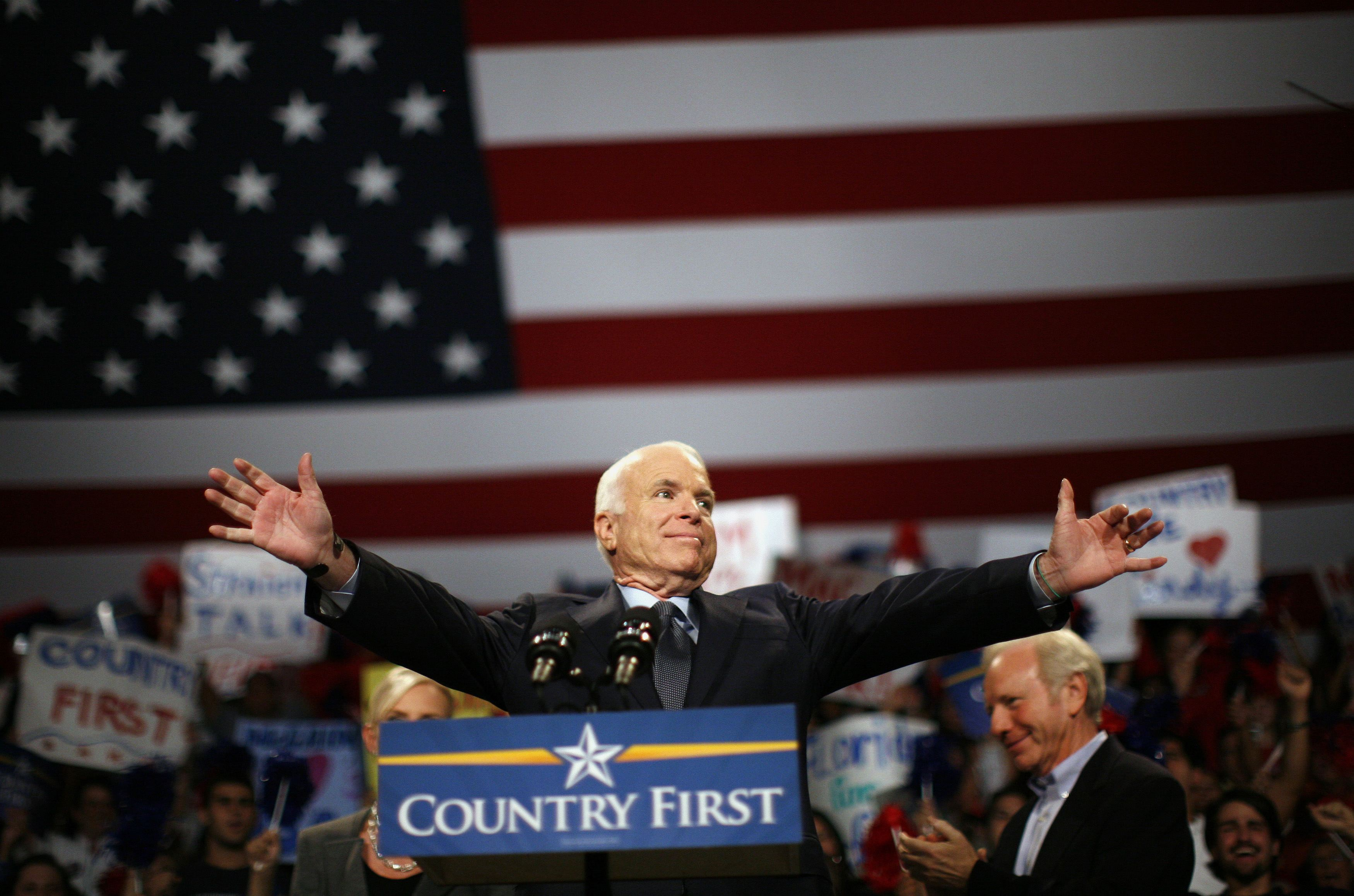 U.S. Republican presidential nominee Sen. John McCain greets supporters during a rally in Miami, Florida on Friday.