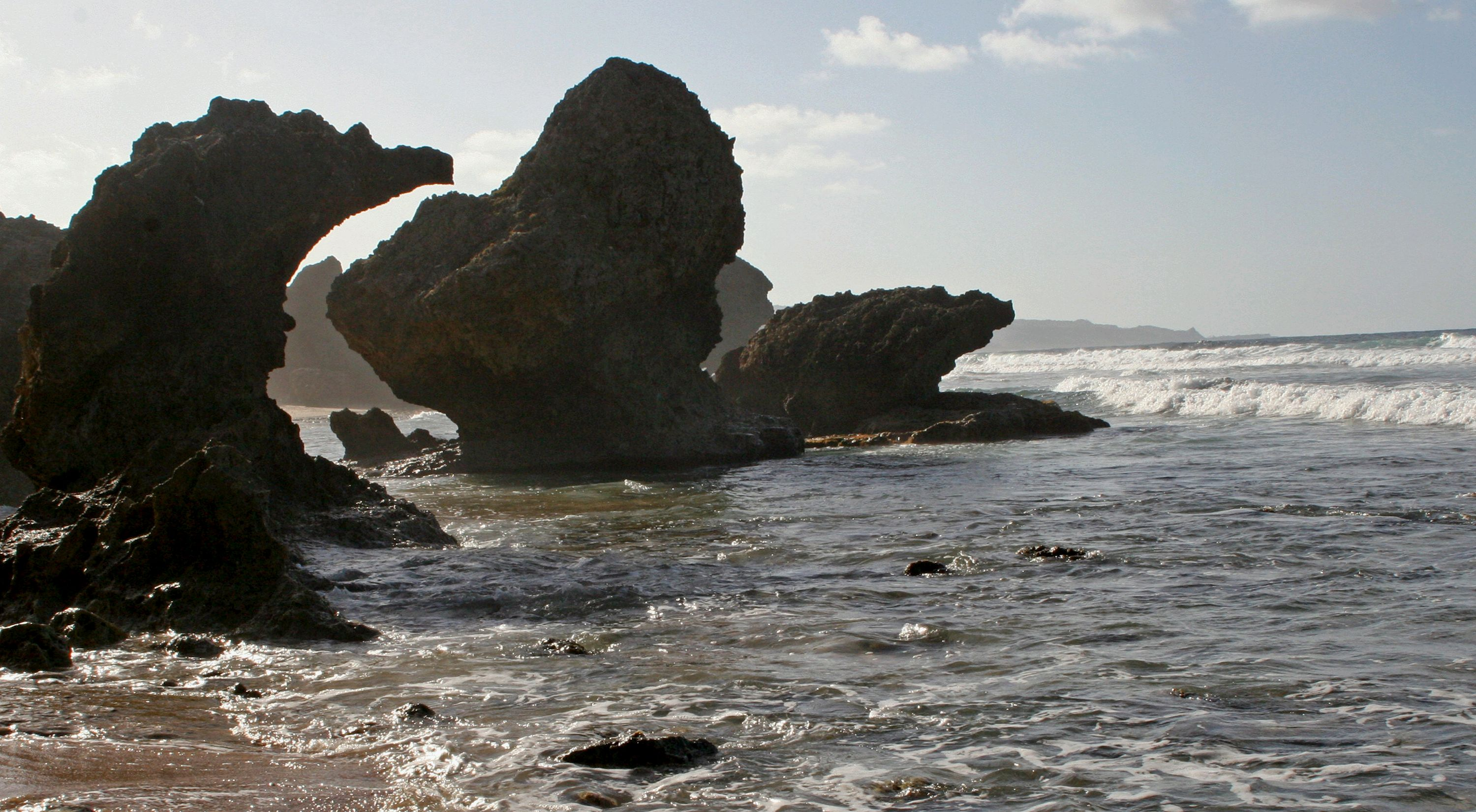 Waves crash on the rocky shore at Bathsheba, located on the East coast of Barbados.