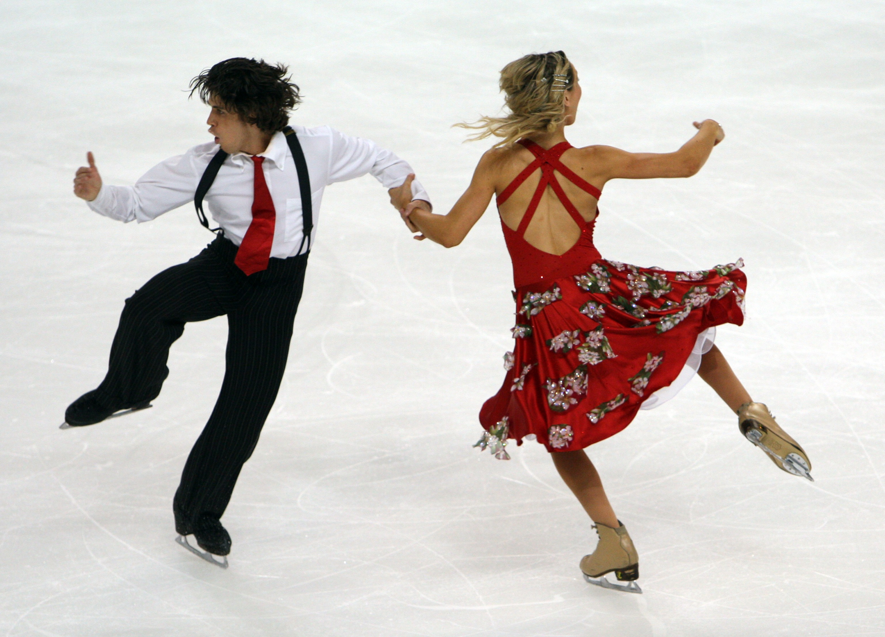 Great Britain's John Kerr, left, and Sinead Kerr skate dring the Ice Dance Program at the Skate America Figure Skating competition on Saturday.
