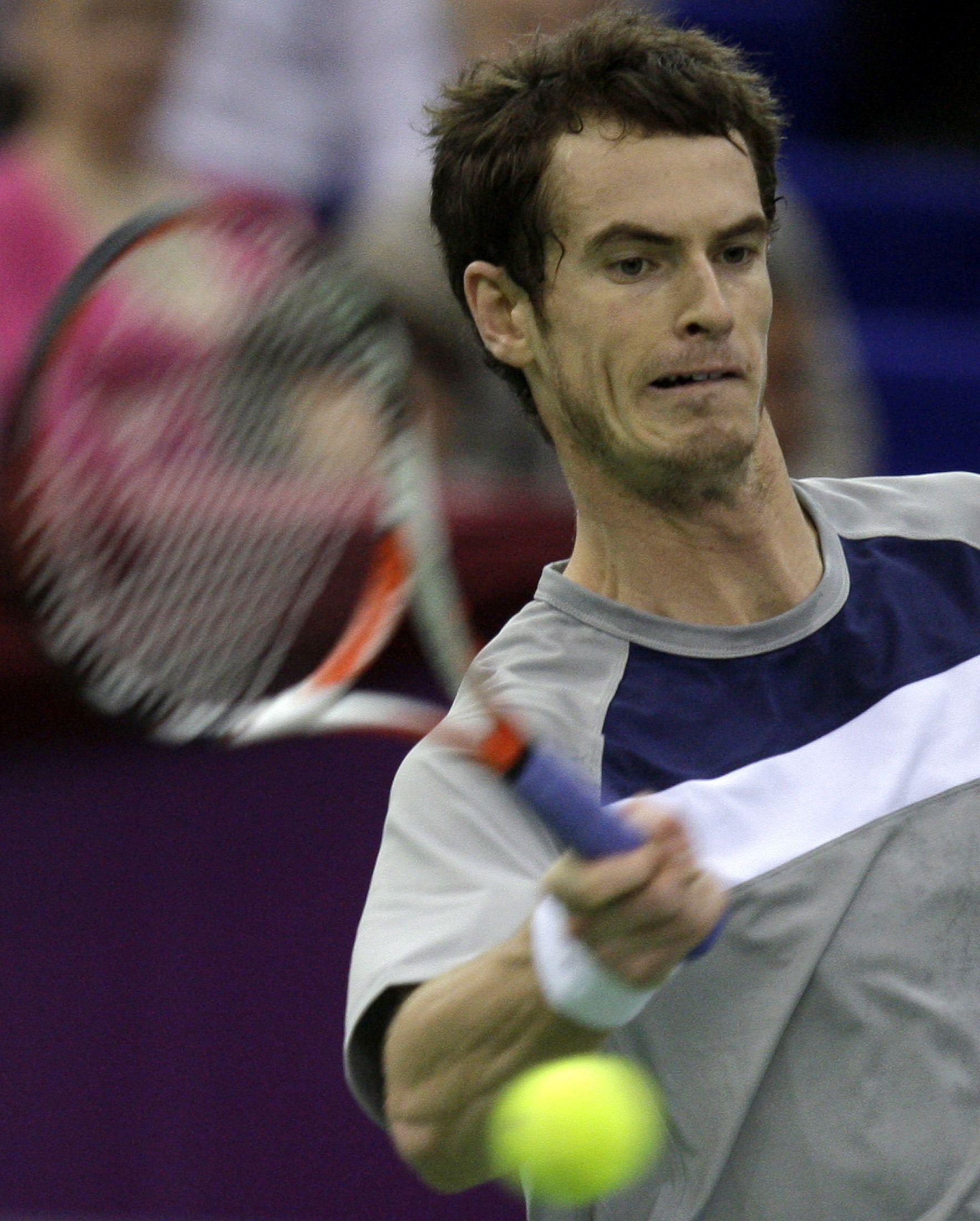 Britain's Andy Murray returns the ball to Kazakhstan's Andrey Golubev during their final match at St.Petersburg, Russia on Sunday.