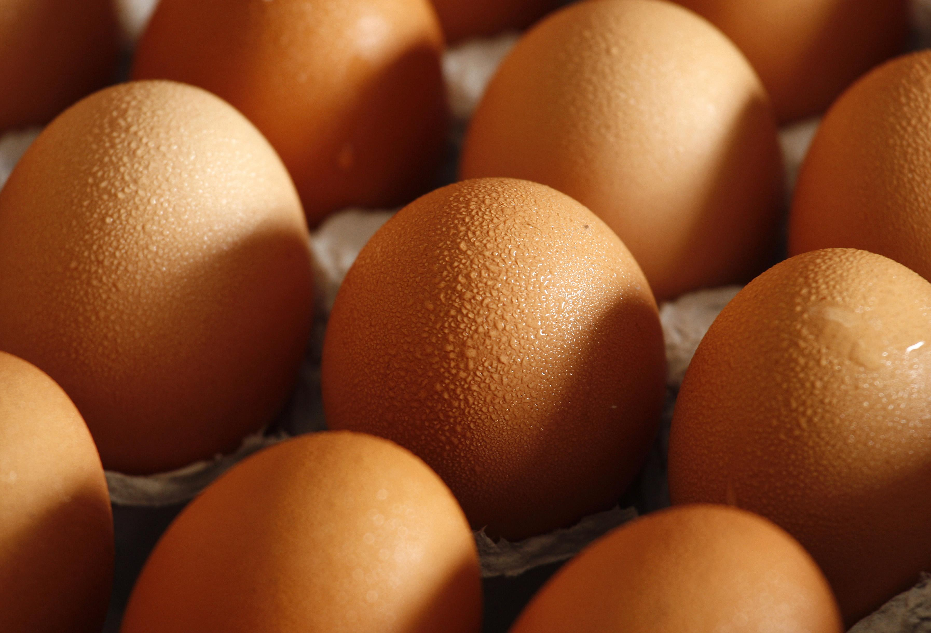 Eggs from mainland China are seen at a wholesale market in Hong Kong yesterday.