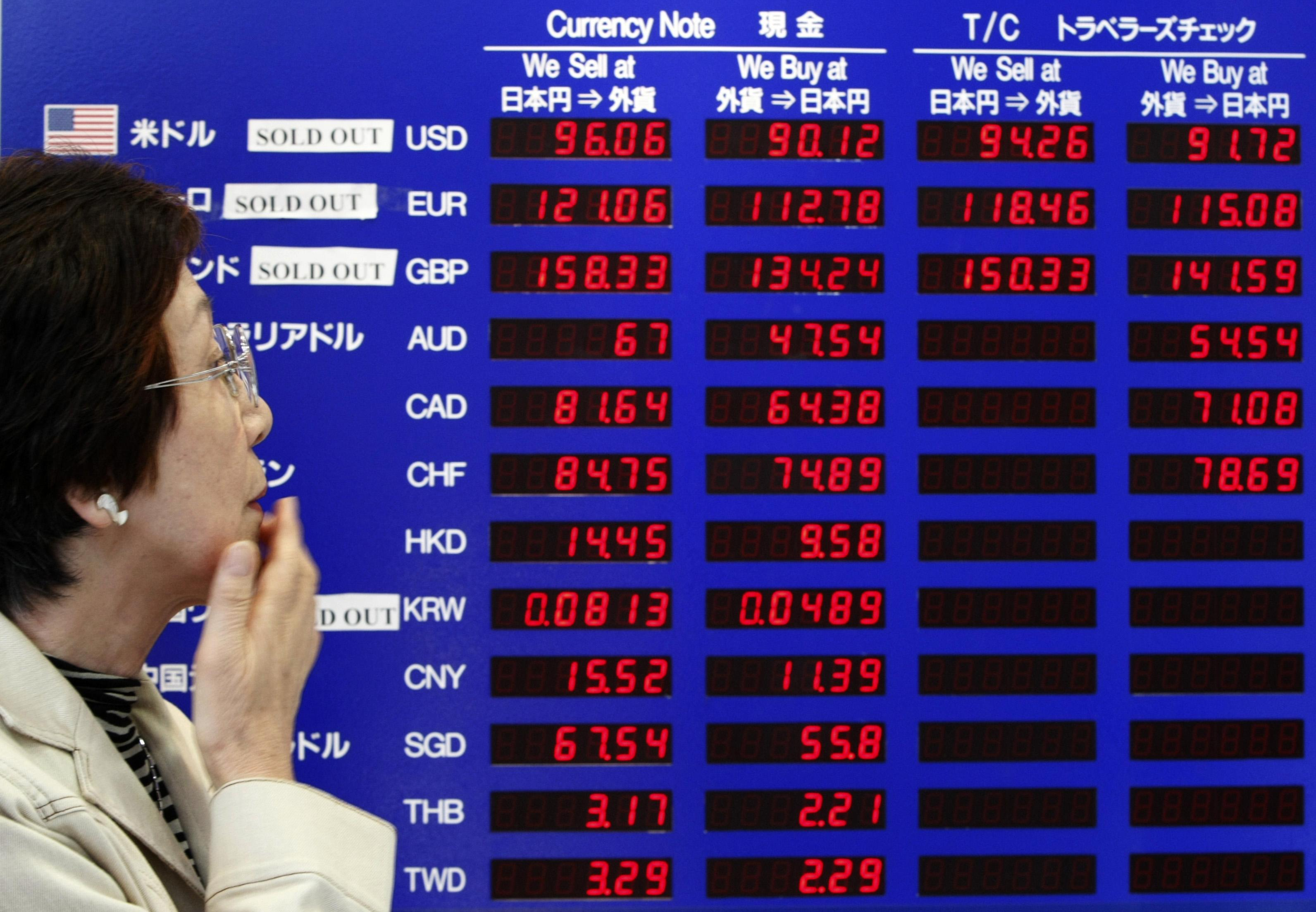 A customer reacts in front of a board displaying currency exchange rates at a money exchange bureau in Tokyo, Japan yesterday. The yen climbed towards...
