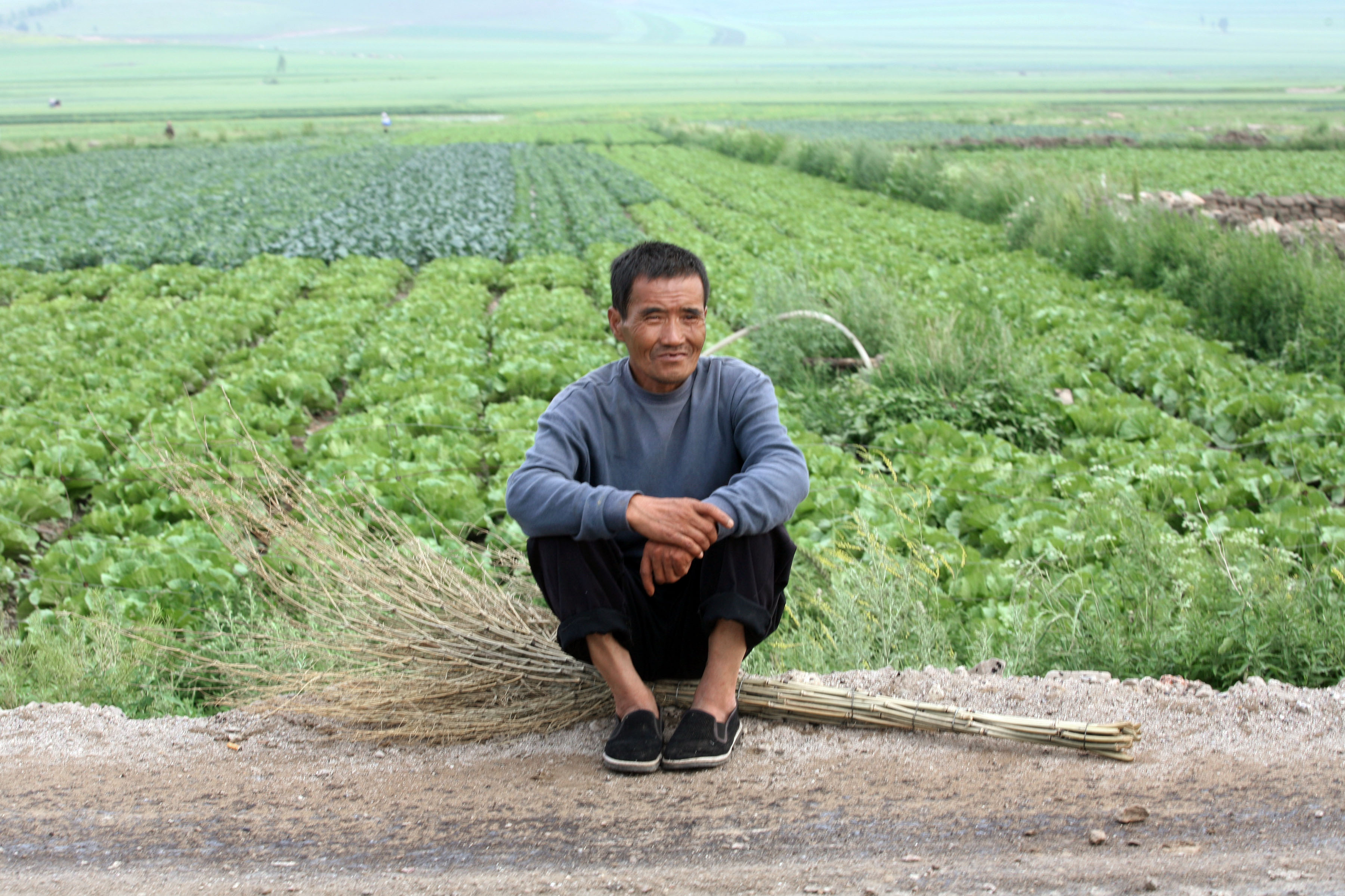 A farmer is seen sitting on a broom next to a vegetable field in Hebei Province, north of Beijing, China in this 2007 file photo.