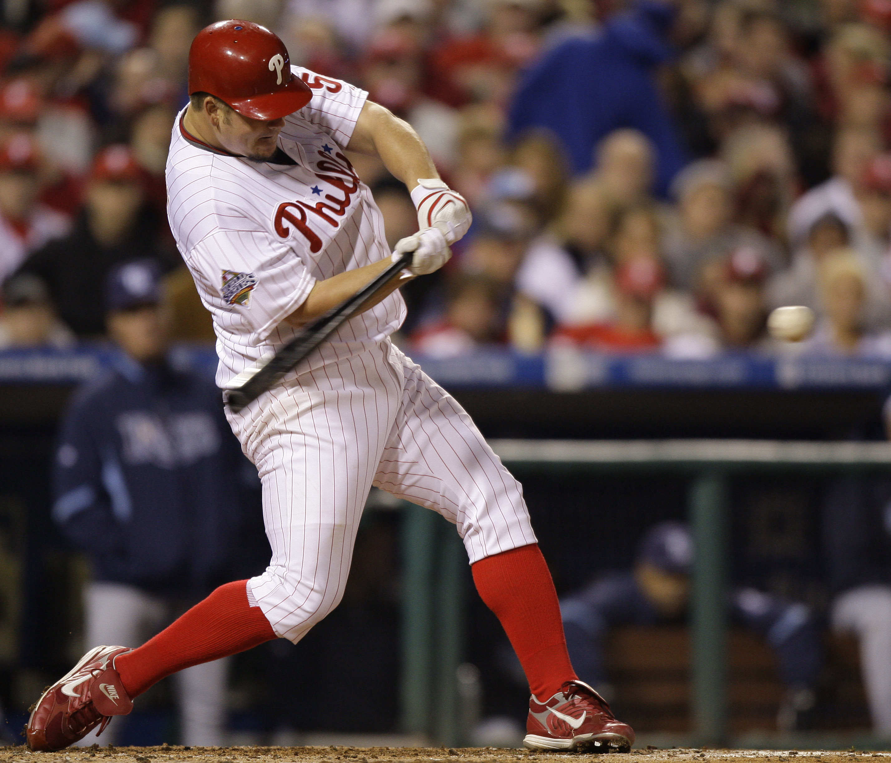 Philadelphia Phillies' Joe Blanton hits a home run during the fifth inning of Game 4 of the baseball World Series against the Tampa Bay Rays in Philad...