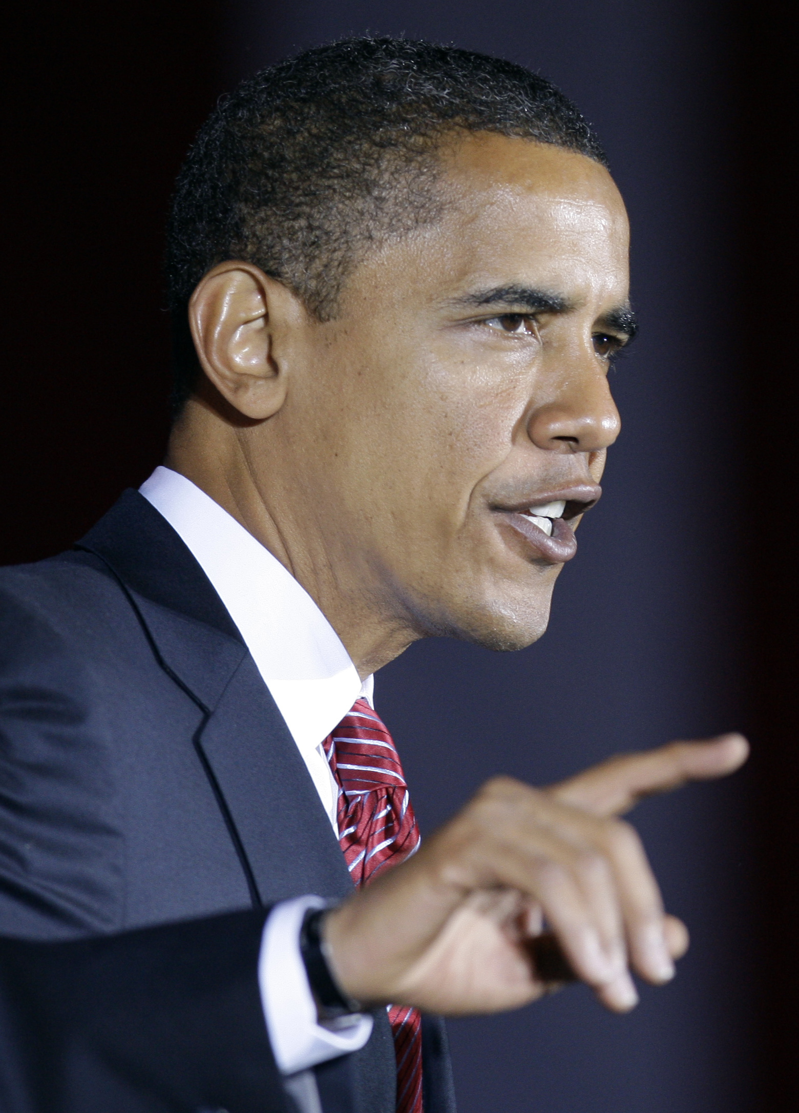 Democratic presidential candidate Barack Obama speaks at the Canton Civic Center in Canton, Ohio on Monday.
