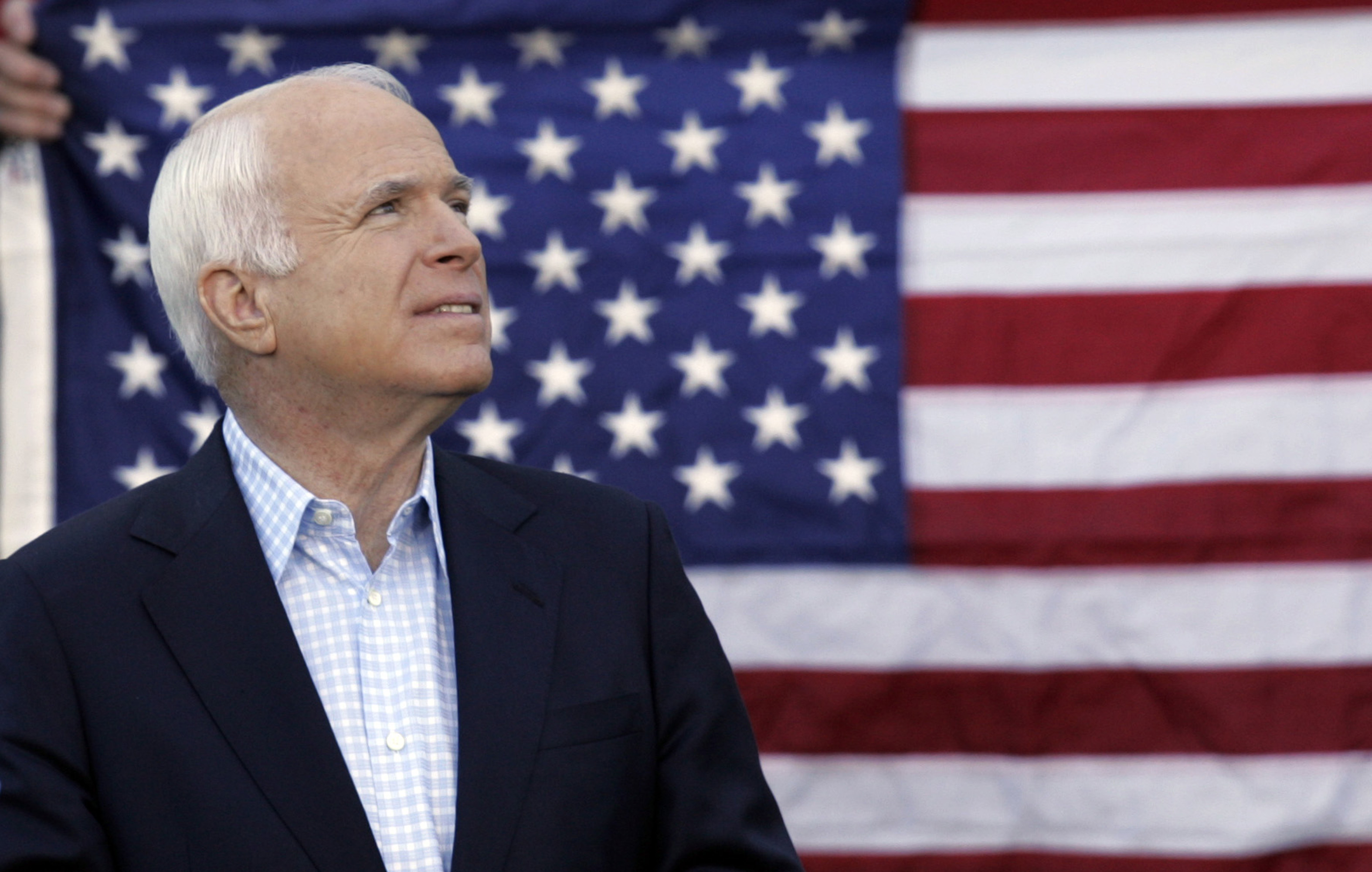 Republican presidential candidate Sen. John McCain looks up during a rally at the Christopher Newport University in Newport News, Virginia on Saturday...