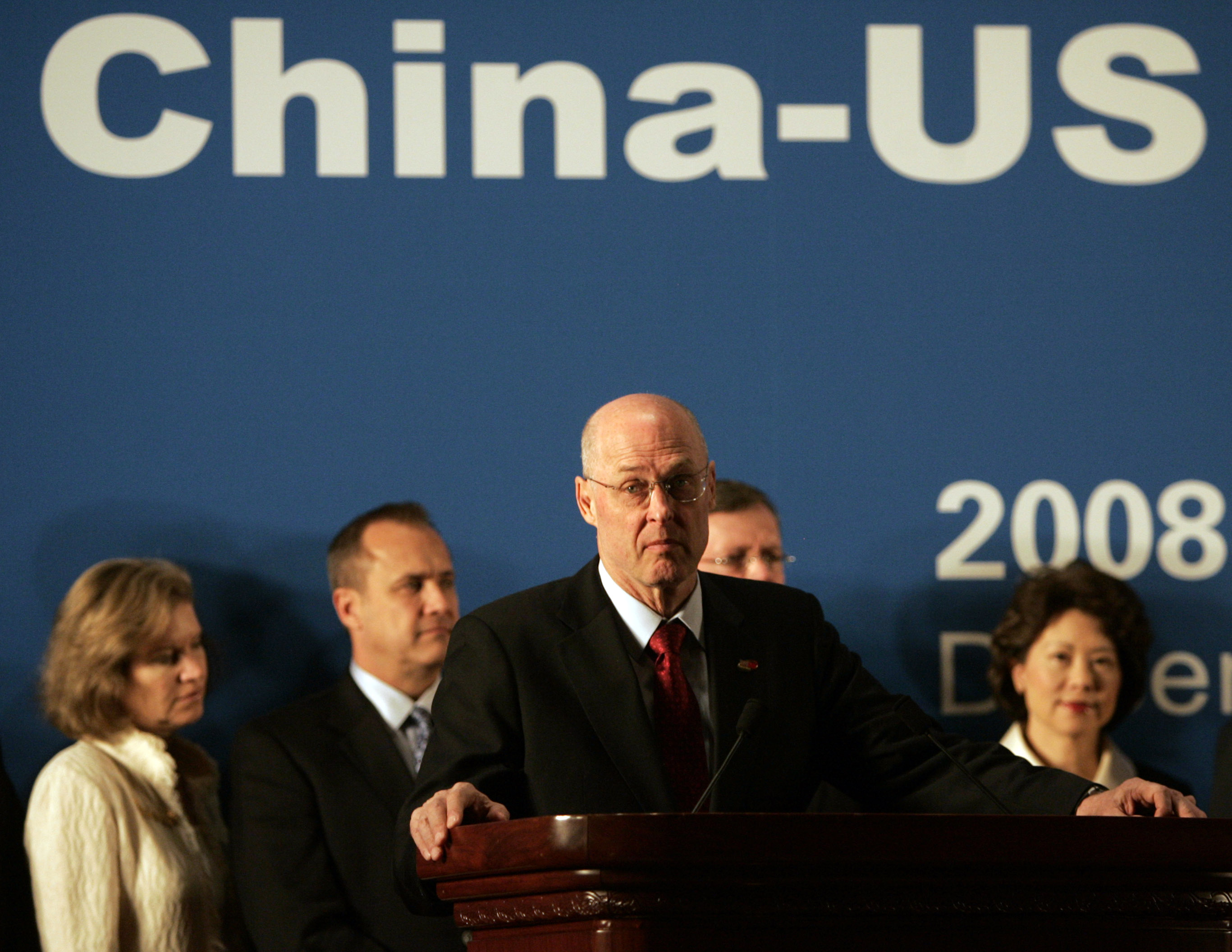 U.S. Treasury Secretary Henry Paulson, speaks during a joint press conference with Chinese Vice Premier Wang Qishan, not in picture, at the end of the...