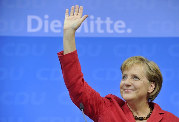 German Chancellor Angela Merkel of the Christian Democratic Party, CDU, reacts after the German general elections in Berlin, Germany on Sunday.