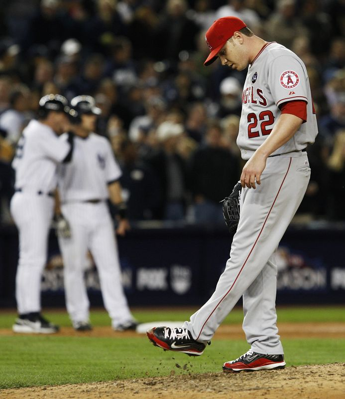 Los Angeles Angels pitcher Scott Kazmir kicks the dirt during the eighth inning of Game 6 of the American League Championship baseball series on Monda...