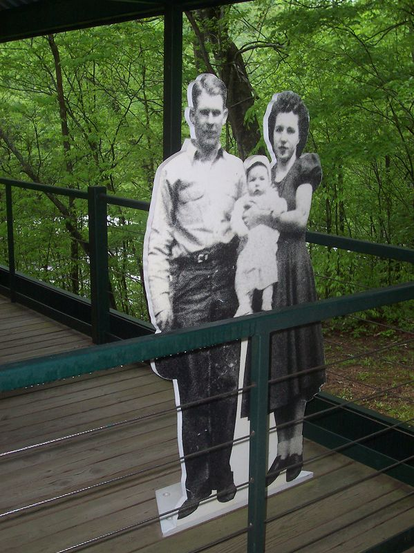 Cutouts of miners and family members are used at the Big South Fork National River and Recreation Area to remind visitors of what life was like in the...