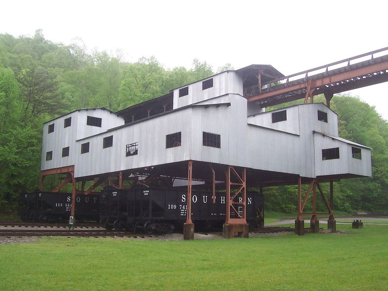 The tipple at Blue Heron was used starting in the late 1930s to load coal into train cars.