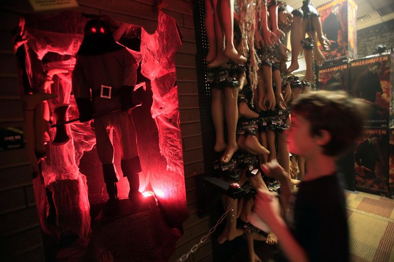 A boy looks at the halloween display at the Spirit Halloween store on Oct. 13 in New York, New York.