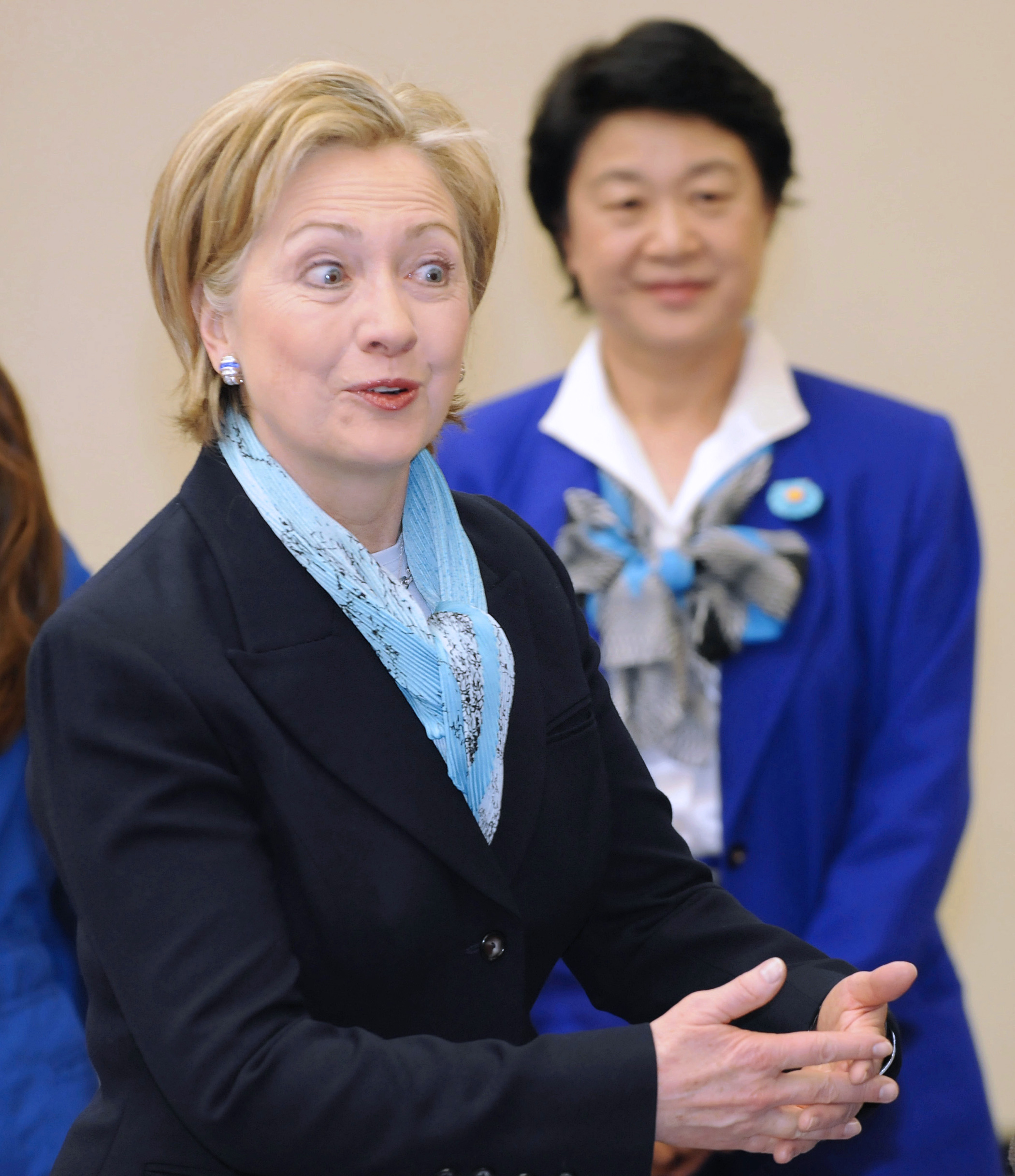 U.S. Secretary of State Hillary Rodham Clinton speaks during a reception after her arrival at Haneda international airport in Tokyo, Japan on Feb. 16....
