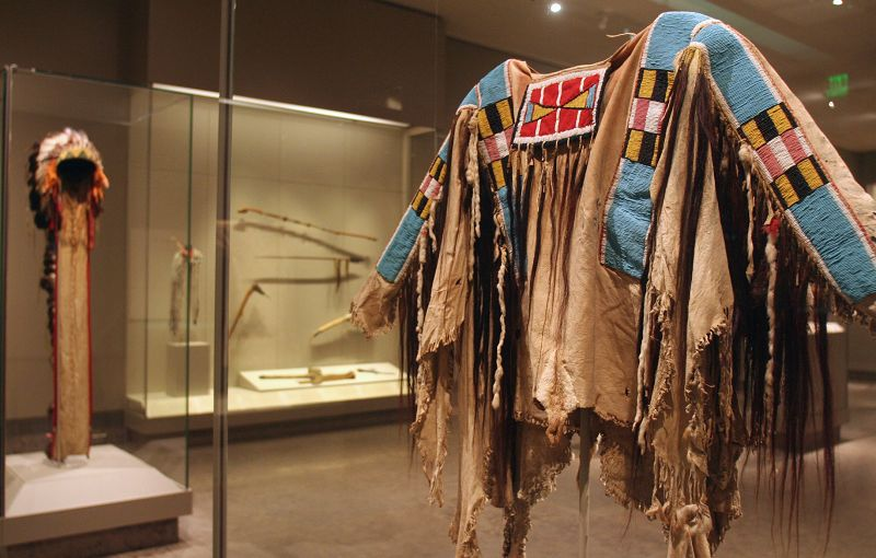 The Plains beadwork includes a Crow war shirt in the new American Indian galleries at the Nelson-Atkins Museum of Art in Kansas City, Missouri.