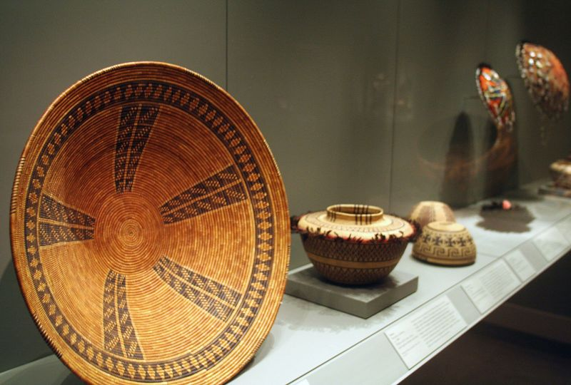 A large tray by the Chumash of Southern California dates to 1820 and dominates the basketry. The tray is among the many historical artifacts that can ...