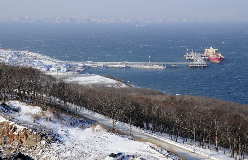 A tanker seen anchored at the new oil export terminal in the far eastern port of Kozmino on Monday.