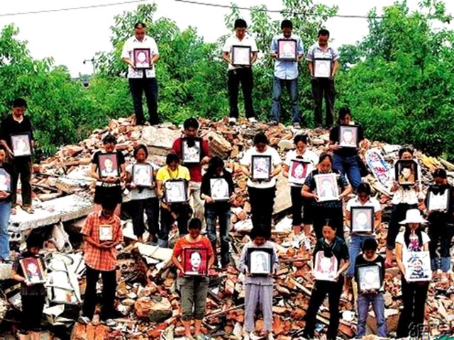 From Who Killed Our Children released in 2008, a group of parents holds pictures of their children killed in the 2008 Sichuan earthquake. Photo Court...