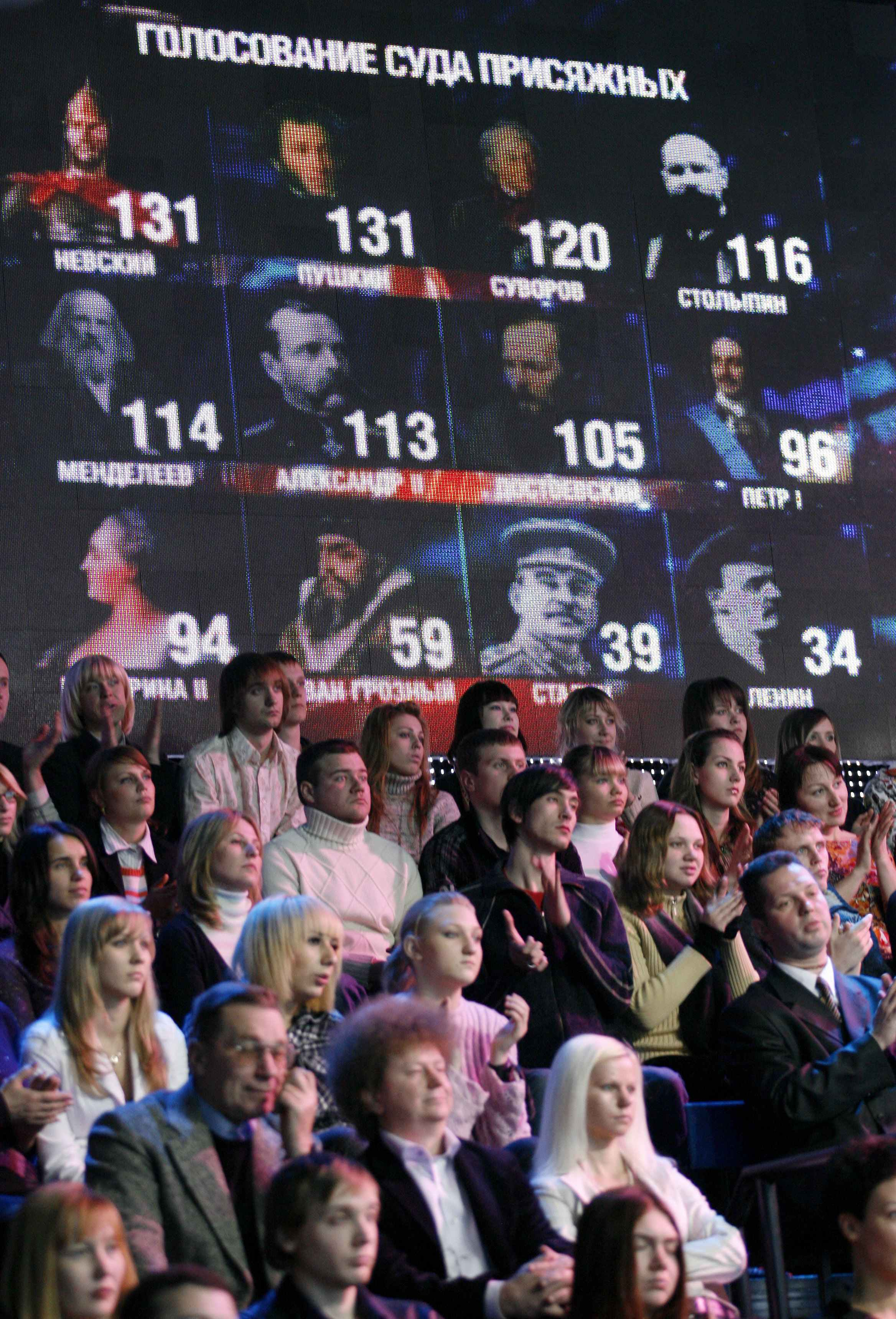 People attend 'Imya Rossiya' ('Name Russia') TV show in Moscow, Russia on Saturday.