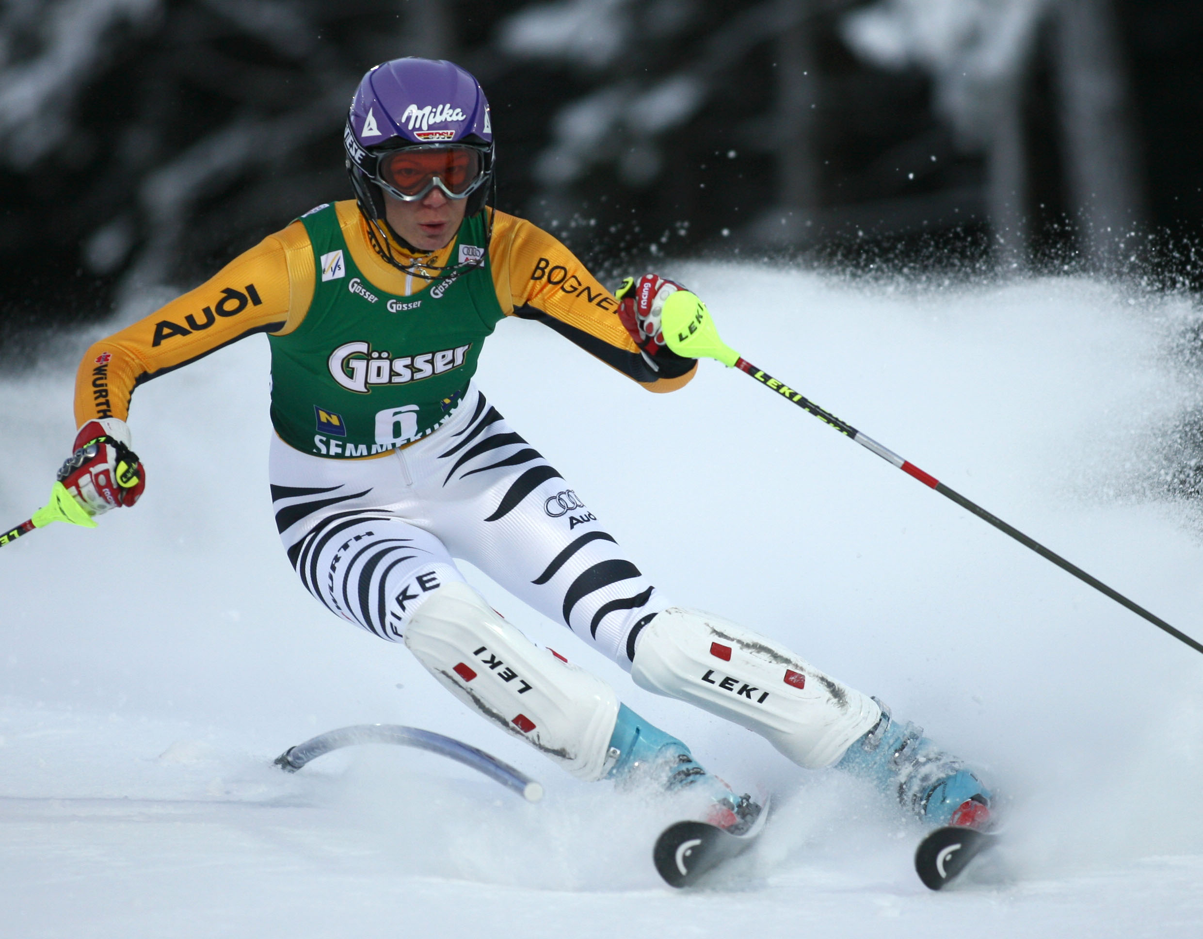 Germany's Maria Riesch continued her stunning slalom form with a second successive victory in a World Cup race at Semmering on Monday.