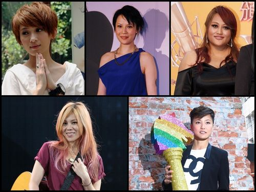 Nominees in the Best Mandarin Female Singer category (clockwise from top left): Penny Tai, Faith Yang, Jia Jia, Denise Ho and Tanya Chua.
