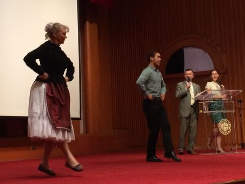 Hungary's representative to Taiwan Levente Szekely (second right) and his wife Hedi Sztano Szekelyne (left) in a folk dance demonstration in Taipei