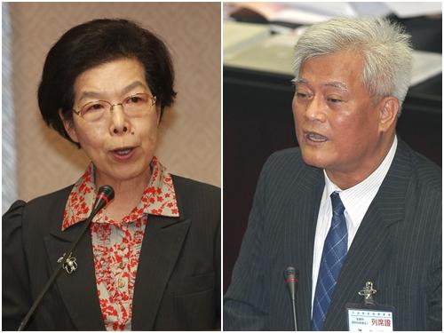 Incoming Control Yuan President Chang Po-ya (left) and Vice President Sun Ta-chuan.