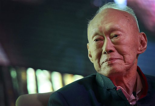 In this March 20, 2013, file photo, Singapore's first Prime Minister Lee Kuan Yew attends the Standard Chartered Singapore Forum in Singapore. Singapo...
