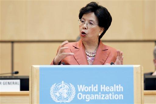 世界衛生組織(WHO)秘書長陳馮富珍在第69屆世衛大會上演說。