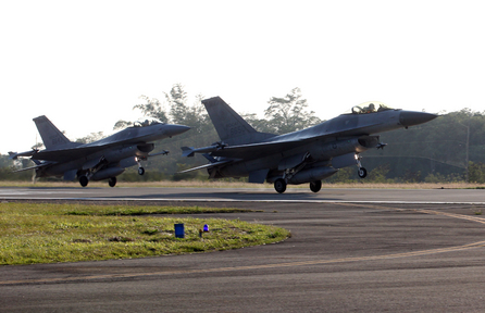 Archive footage of F-16 jets at Chiayi.