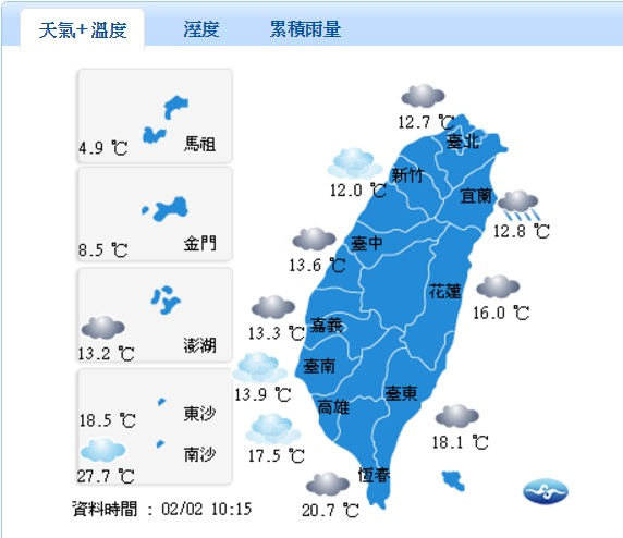 今(2)早出門民眾又感受到一股涼意,原因是強烈大陸冷氣團南下,影響今天台南以北及宜蘭清晨低溫僅11、12度,外出要多加件衣服避免著涼。