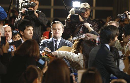 圖為李奧納多3月份在東京六本木之丘舉行《神鬼獵人》首映會。