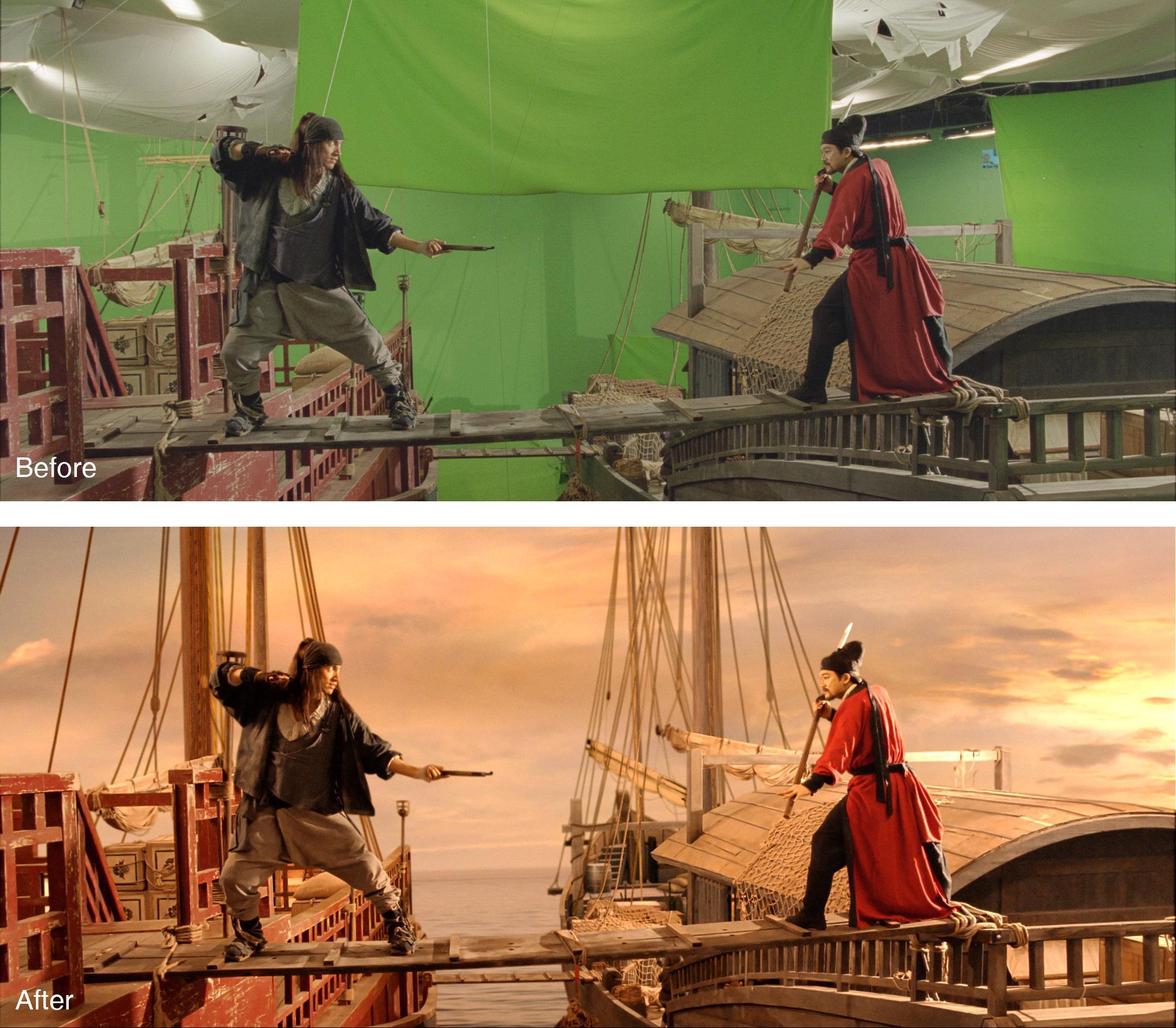 《花漾》於阿榮片廠架設仿古船,藉由歐特克軟體,打造極逼真的視覺特效。