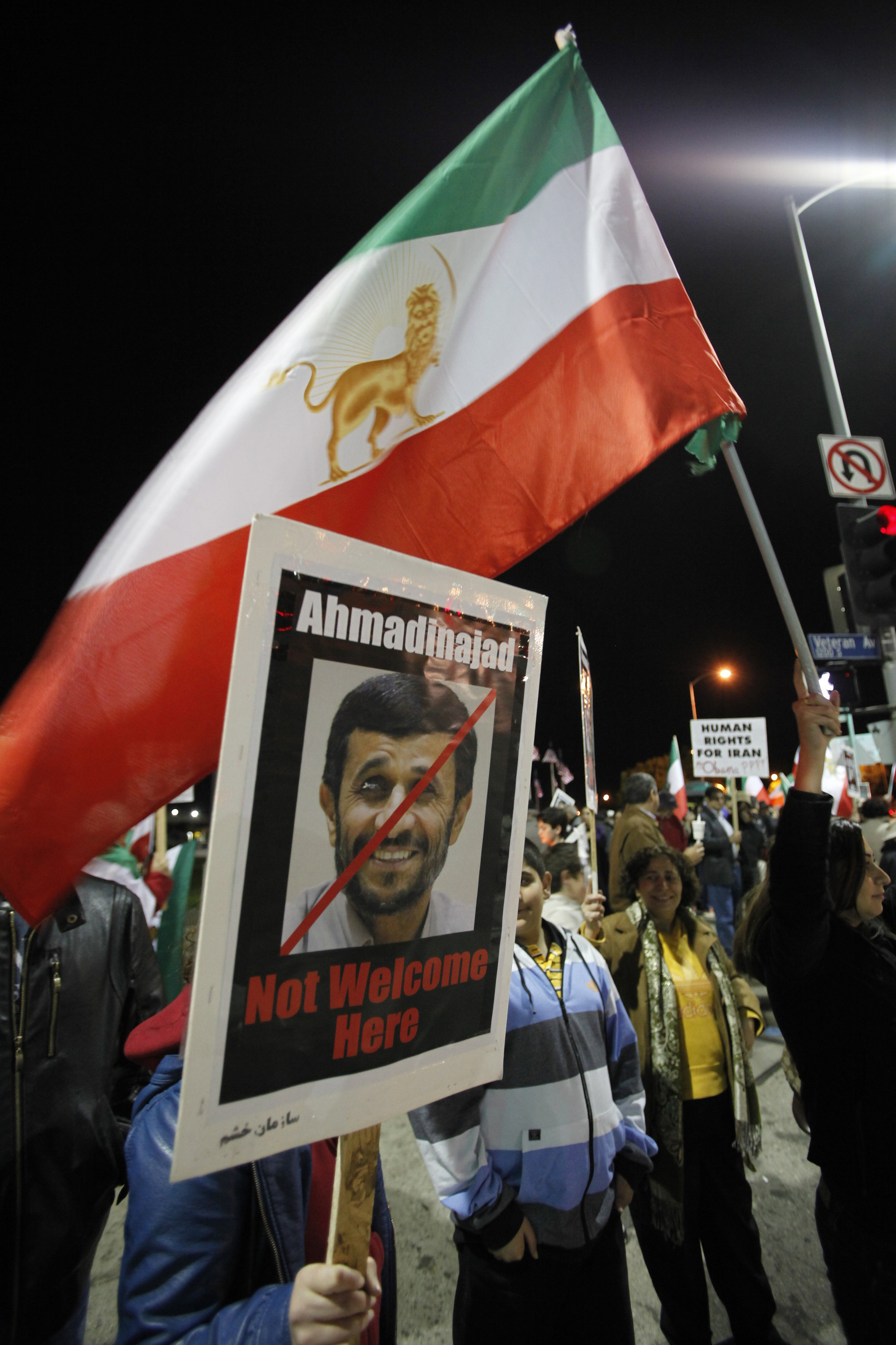 Iranian Americans protest outside the Los Angeles Federal building against the Iranian regime in the Westwood section of Los Angeles, California on Mo...