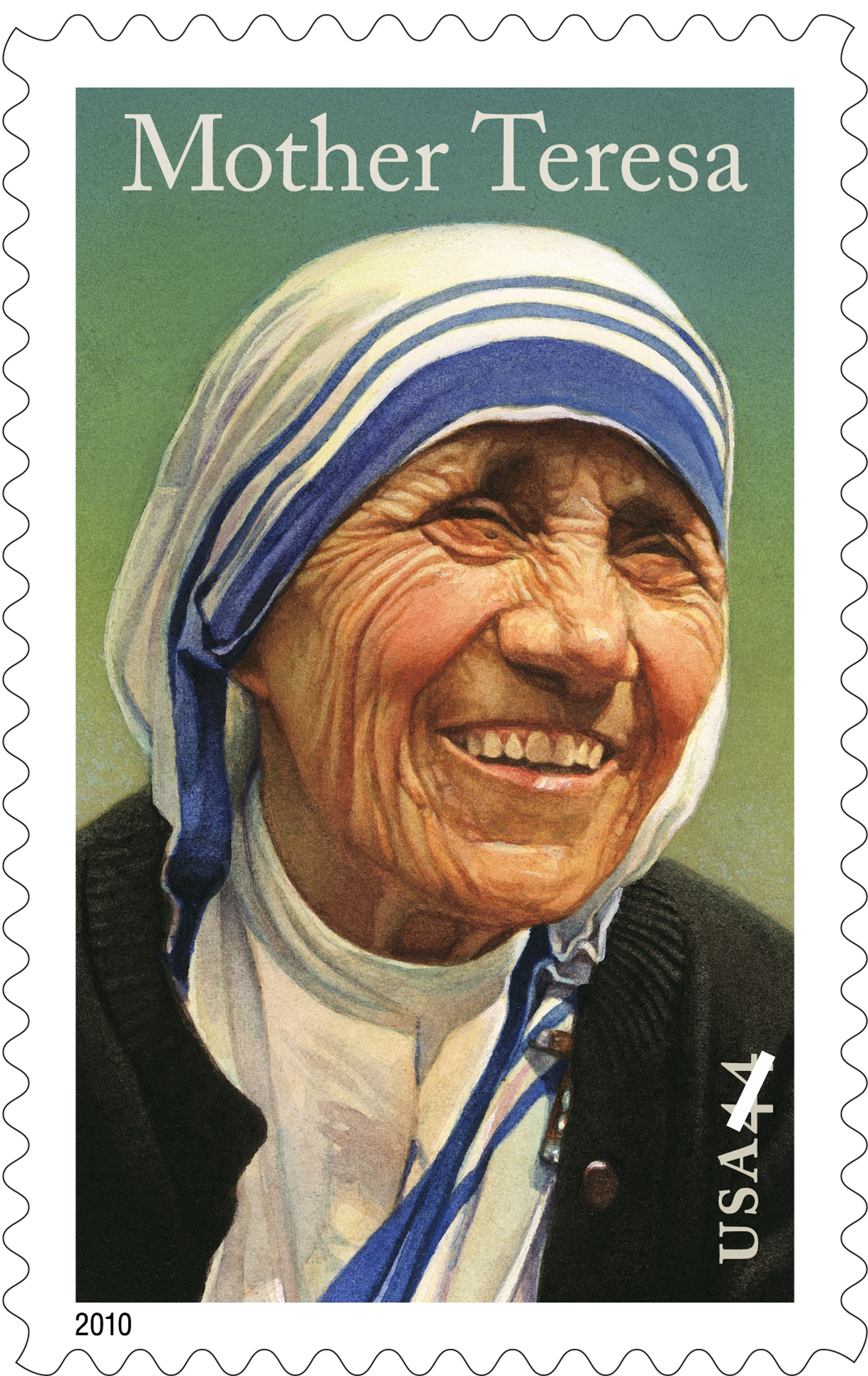 This undated handout image provided by the U.S. Postal Service shows a US$0.44 postage stamps honoring Mother Teresa. A stamp in her honor will go on ...