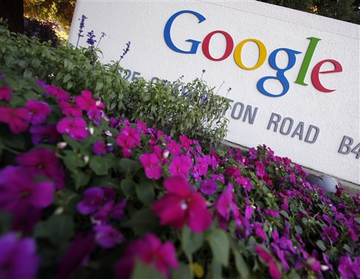 In this photo taken on Oct. 8, a sign at Google headquarters in Mountain View, Calif. is shown. Google Inc.'s third-quarter earnings climbed 32 percen...