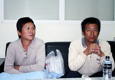 Members of a Panama-registered cargo ship is shown after discharged from a hospital in Kaohsiung. One member of the cargo ship was killed and 12 other...