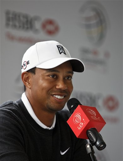 Tiger Woods of the U.S. speaks during a news conference for the Shanghai HSBC Champions golf tournament, which begins on Thursday, at the Sheshan Inte...
