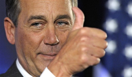 House Republican leader John Boehner of Ohio celebrates the GOP's victory that changes the balance of power in Congress and will likely elevate him to...