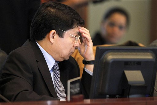 Denis Ronaldo Moncada, foreign ambassador for Nicaragua to the Organization of American States (OAS) , listens as Costa Rica's Foreign Minsiter Rene C...