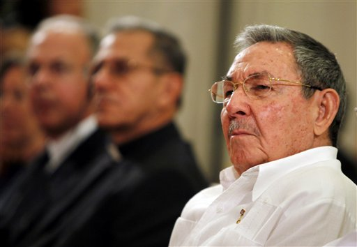 Cuba's President Raul Castro attends the opening ceremony of a new Catholic Seminary in Havana, Cuba yesterday. Castro joined Archbishop Thomas G. Wen...
