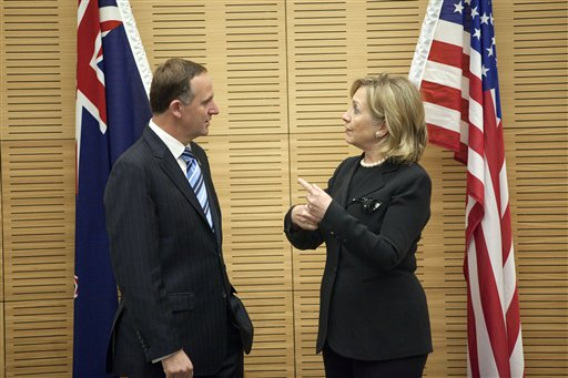 U.S. Secretary of State Hillary Rodham Clinton, right, meets with New Zealand Prime Minister John Key at the Parliament Complex today in Wellington, N...