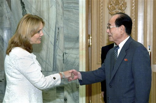 In this photo released by Korean Central News Agency via Korea News Service yesterday, Josette Sheeran, left, executive director of the U.N.'s World F...