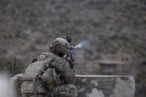 A U.S soldier of 2nd Platoon Bravo Company 2-327 Infantry returns fire to Taliban positions after Taliban attacked them during a patrol in Chowkay dis...