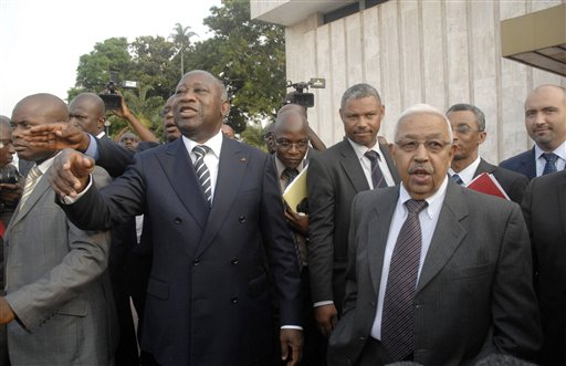 Ivory Coast President Laurent Gbagbo, left, welcomes Cape Verde, President, Pedro Pires, front right, at the Presidential Palace in Abidjan, Ivory Coa...