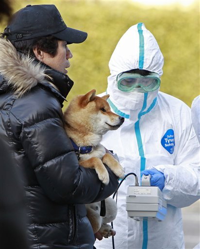A man holds his dog as they are scanned for levels of radiation in Koriyama, Fukushima Prefecture, Japan on Sunday.