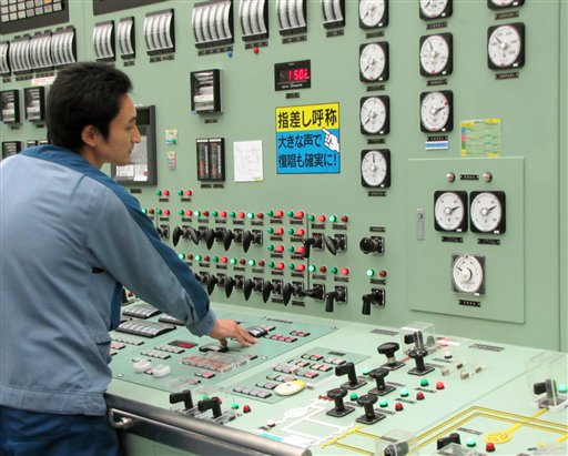 In this Sept. 2010 photo, an operator works at Unit 3 reactor of the Fukushima Daiichi Nuclear Power Plant in Okumamachi, Fukushima Prefecture (state)...